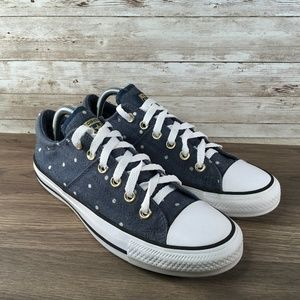 Converse All Star Low Top Blue White Polka Dot